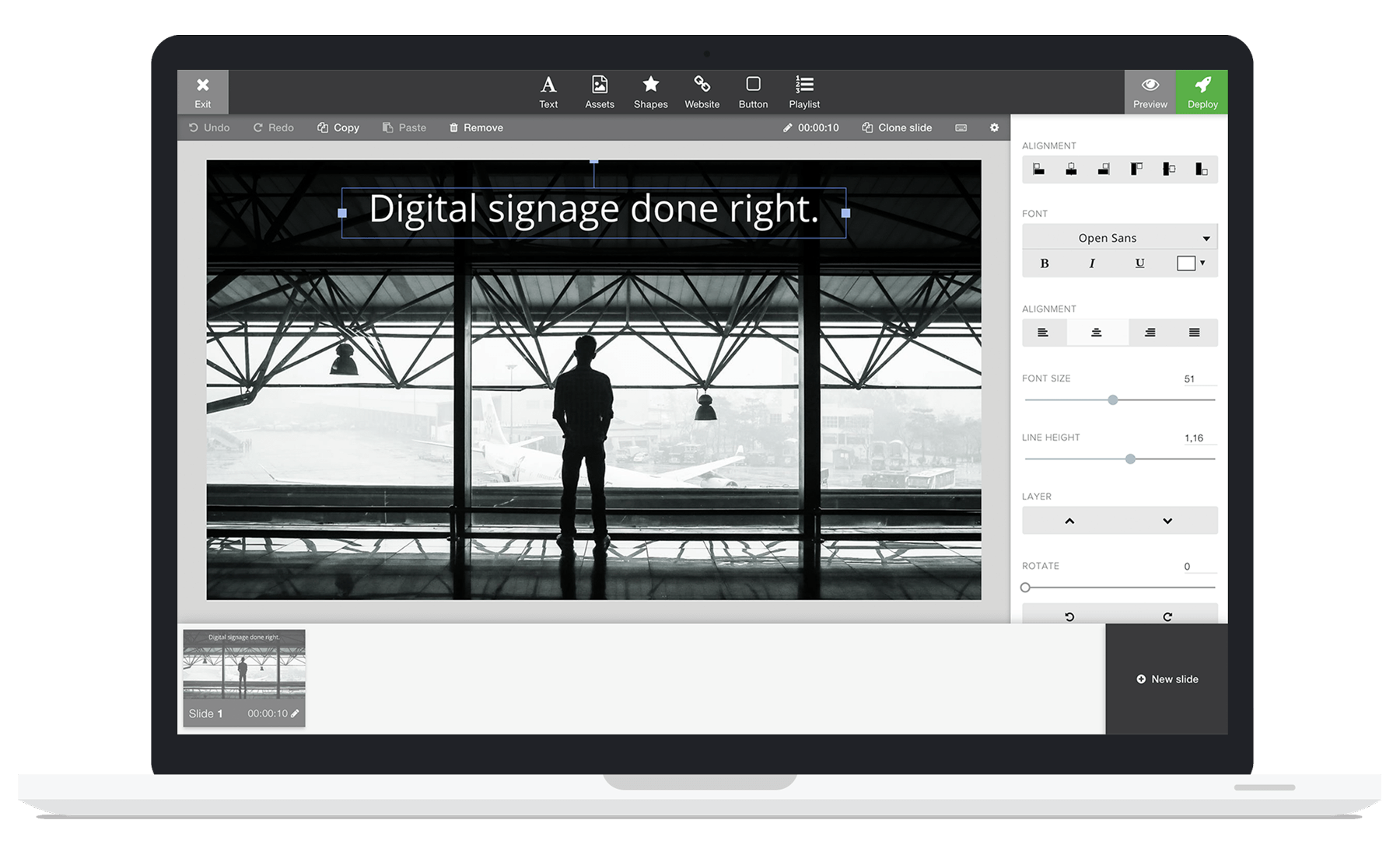 Design beautiful digital signage content with a built-in editor