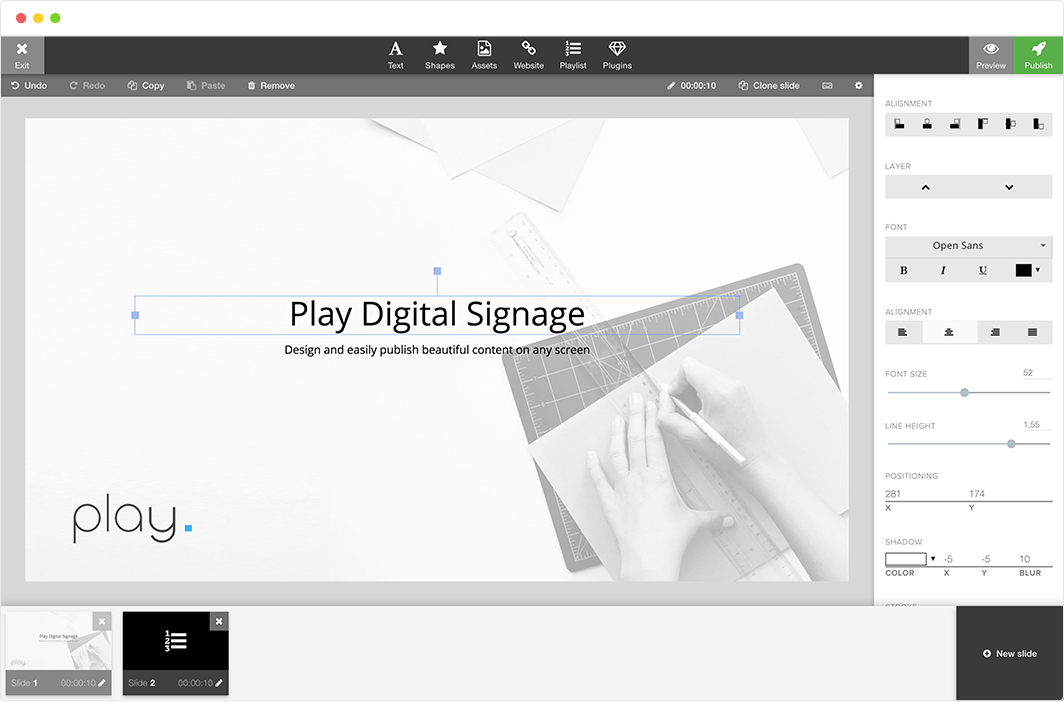 design beautiful digital signage content with built-in content editor