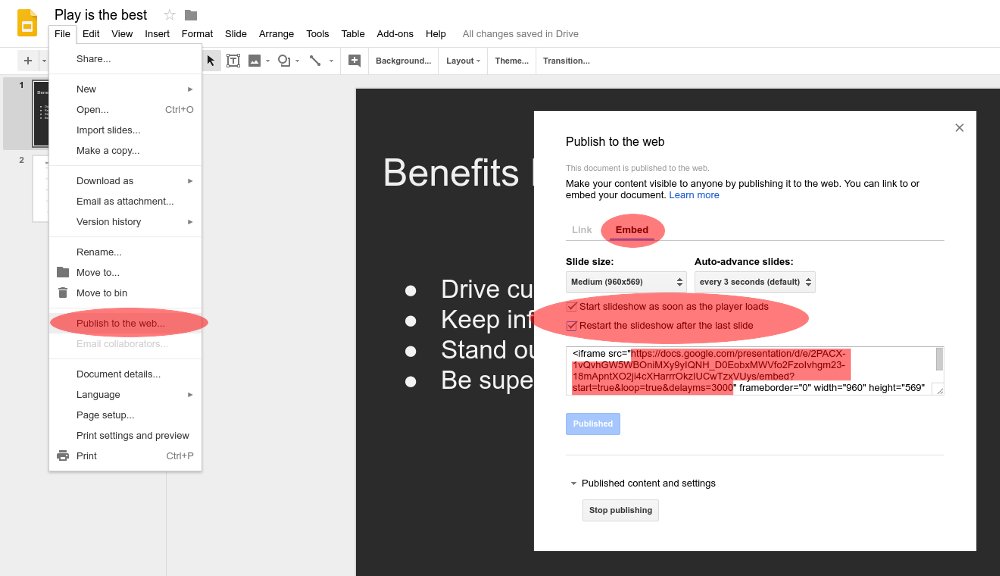Embedding google slides in your Play Digital Signage content