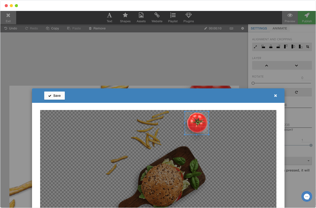 To save you time we've added cropping in the editor.