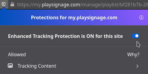 Disable Enhanced Tracking Protection
