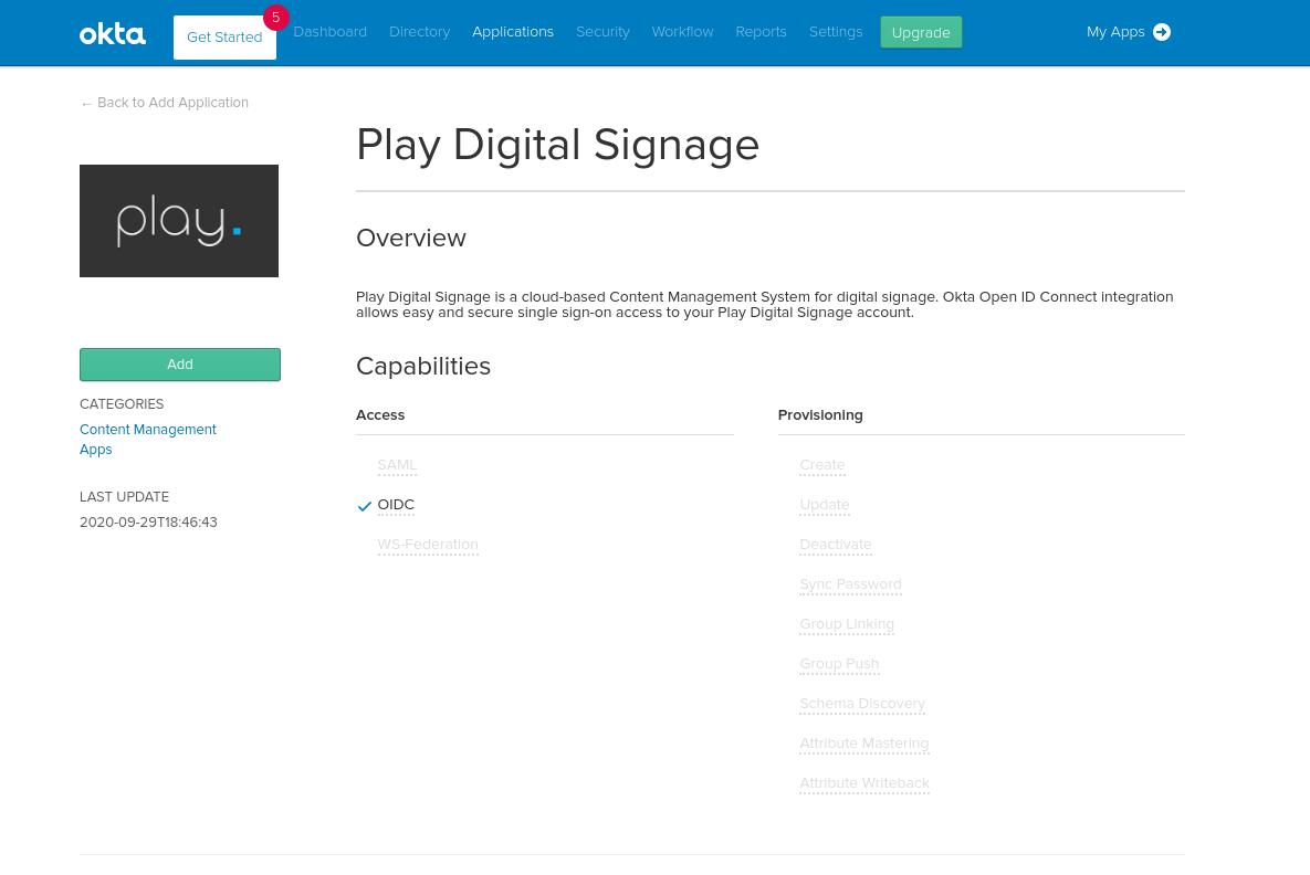 Add Play Digital Signage to your Okta organization