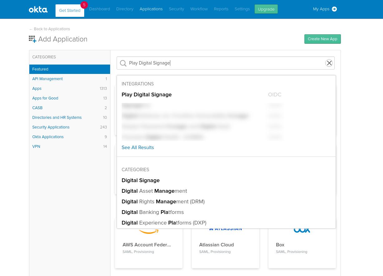 Search in Okta Integration Network